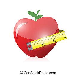 apple and measure tape illustration design