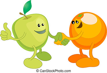 Apple and Orange happily shaking hands - A conceptual vector...