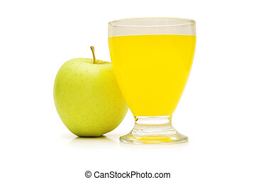 Apple and orange juice isolated on white