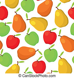illustration of colorful pears and apples seamless pattern