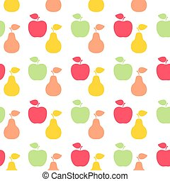 Apple and pear sign icon. Fruit with leaf symbol. Seamless grid