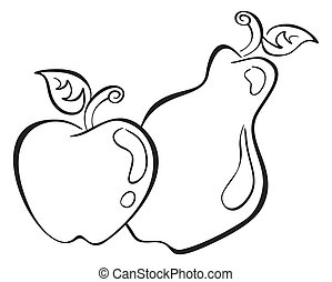Apple and pear - Black symbol of apple and pear on white