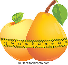 Apple and pear with measuring tape