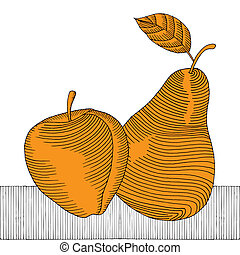 apple and pear woodcut gold