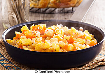 Apple and root vegetable hash with potato, carrots and ...