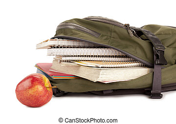 apple and school backpack
