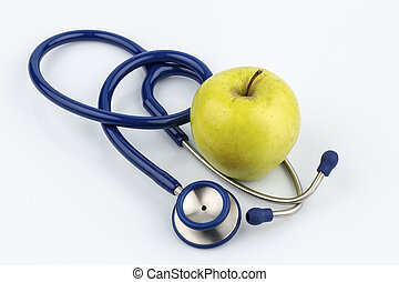 apple and stethoscope - an apple and a stethoscope with a...