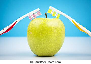 apple and toothbrushes