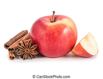 Apple, anis and cinnamon isolated on white background