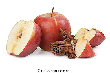 Apple, anise and cinnamon isolated on white background