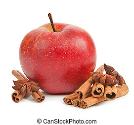 Apple, anise and cinnamon isolated
