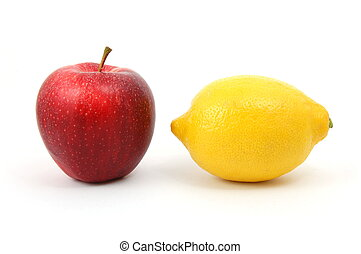 Apple - apple and lemon isolated on a white background