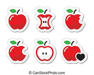Apple, apple core, bitten, half vec