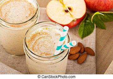 Apple Banana Cinnamon Smoothie in small jars