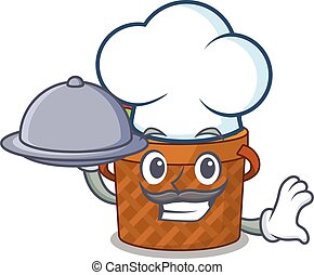 Apple basket as a chef cartoon character with food on tray