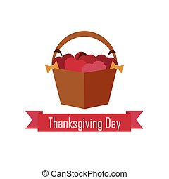 apple basket on Thanksgiving Day. vector. flat