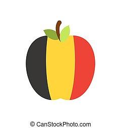 Apple Belgium flag. Belgian National Fruit. Vector illustration