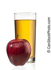 apple beside apple juice glass