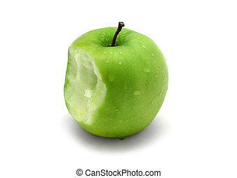 Apple Bite - Green apple with water drops and bite
