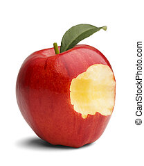 Apple Bite - Red apple with green leaf missing a bite...