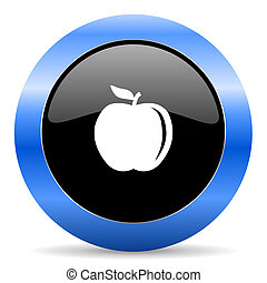 Apple black and blue web design round internet icon with shadow on white background.