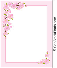 A border, frame or background featuring sprigs of apple blossoms