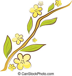 Apple blossom. Vector branch