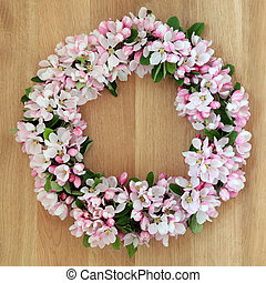 Apple Blossom Wreath - Apple flower blossom wreath over ...