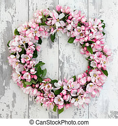 Apple Blossom Wreath - Apple flower blossom wreath over old ...