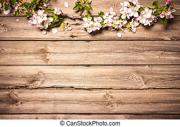Apple blossoms on wooden surface - Spring flowering branch...