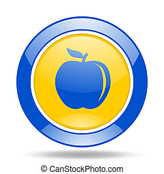 apple blue and yellow web glossy round icon