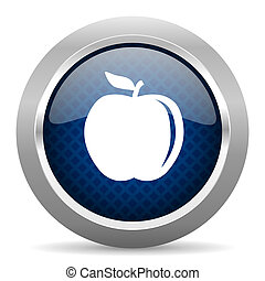 apple blue circle glossy web icon on white background, round button for internet and mobile app