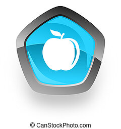 apple blue metallic chrome web pentagon glossy icon