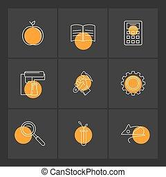 Apple , book , calculator , paint roller ,hammer , gear