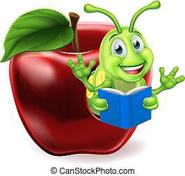 Apple Book Worm Cartoon