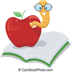 Illustration of a Nerdy Worm Crawling Out of an Apple Resting on a Book