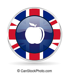 apple british design icon - round silver metallic border button with Great Britain flag