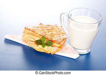 Apple cake and a glass of milk