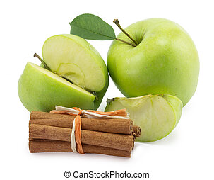 apple, canella on a white background