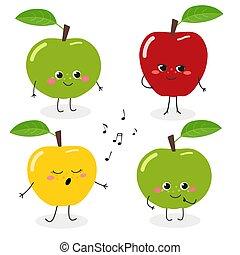 Apple cartoon character emoticon set vector illustration