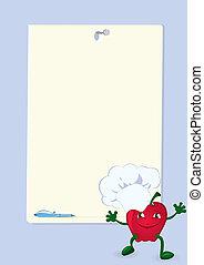 apple-cartoon-character-near-menu-board