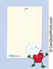 apple-cartoon-character-near-menu-board