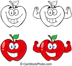 Apple Cartoon Characters- - Apple Cartoon Mascot Characters-...