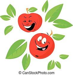 Apple Cartoon Funny Vector Illustration Flat Design