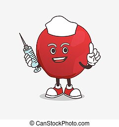 Apple cartoon mascot character as nurse with medical syringe