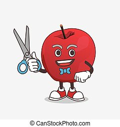 Apple cartoon mascot character as smiling barber with scissors on hand
