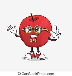 Apple cartoon mascot character in geek style
