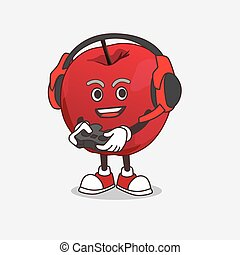 Apple cartoon mascot character play a game with headphone and controller