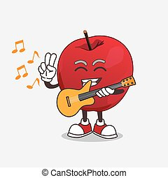 Apple cartoon mascot character playing a guitar