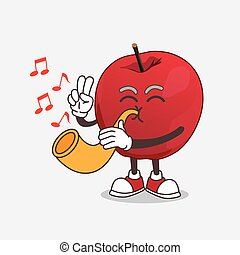 Apple cartoon mascot character playing music with trumpet